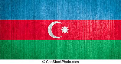 Azerbaijan Flag on wood background