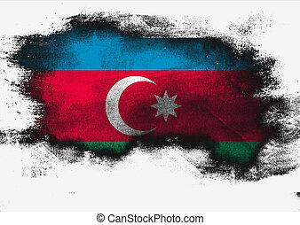Azerbaijan flag painted with brush