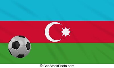 Azerbaijan flag waving and football rotates, loop -...