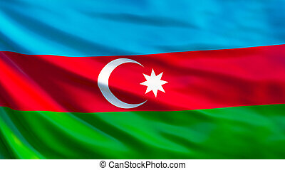 Azerbaijan flag. Waving flag of Azerbaijan 3d illustration