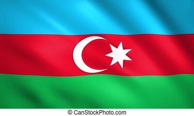 Azerbaijan flag waving in the wind