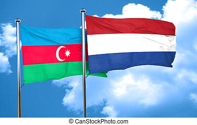 Azerbaijan flag with Netherlands flag, 3D rendering