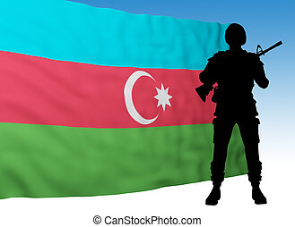 azerbaijan flag with soldier silhouette