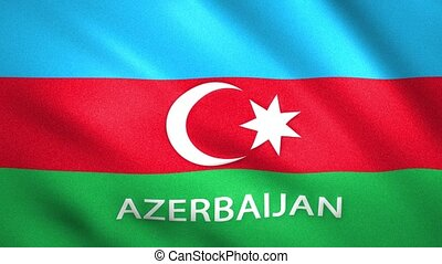 Azerbaijan flag with the name of the country