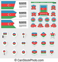 azerbaijan independence day, infographic, and label Set.