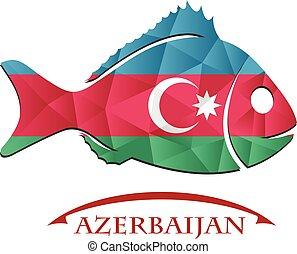 azerbaijan., logo, fish, fait, drapeau