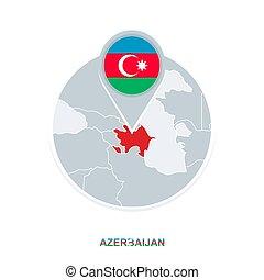 Azerbaijan map and flag, vector map icon with highlighted Azerbaijan