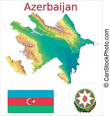 Azerbaijan map flag coat