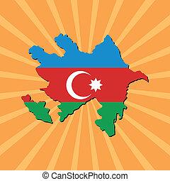 Azerbaijan map flag on sunburst