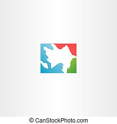 azerbaijan map icon logo vector