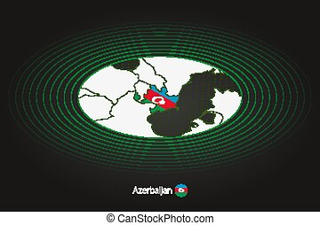 Azerbaijan map in dark color, oval map with neighboring countries.