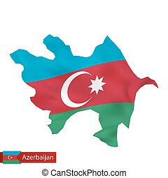 Azerbaijan map with waving flag of country.