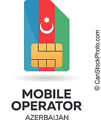 Azerbaijan mobile operator. SIM card with flag.