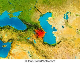 Azerbaijan on physical map