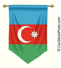 Azerbaijan Pennant - Azerbaijan flag or pennant isolated on...