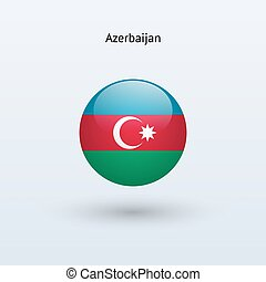 Azerbaijan round flag. Vector illustration.