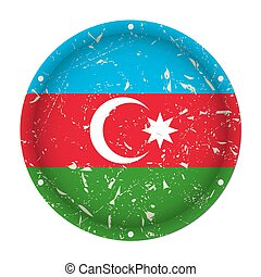 Azerbaijan - round metal scratched flag with holes