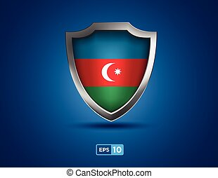 Azerbaijan shield on the blue background