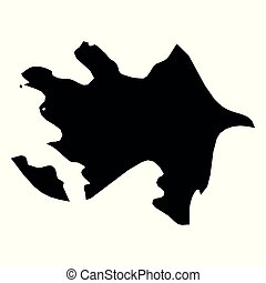 Azerbaijan - solid black silhouette map of country area. Simple flat vector illustration