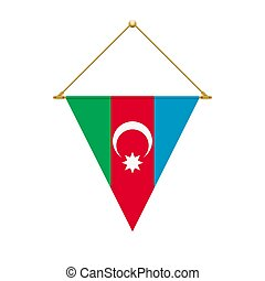 Azerbaijan triangle flag hanging, vector illustration