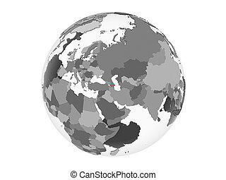 Azerbaijan with flag on globe isolated