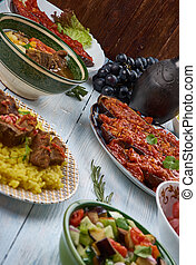 Azerbaijani cuisine, Traditional assorted dishes, Top view.