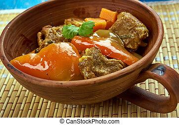 Azerbaijani dish Tava - Tava ety - Azerbaijani dish with ...