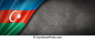 Azerbaijani flag on concrete wall banner - Azerbaijan flag ...