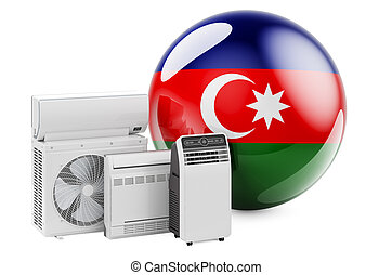 Azerbaijani flag with cooling and climate electric devices. Manufacturing, trading and service of air conditioners in Azerbaijan, 3D rendering