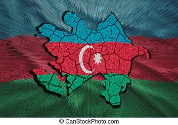 Azerbaijani Map - Map of Azerbaijan in National flag colors