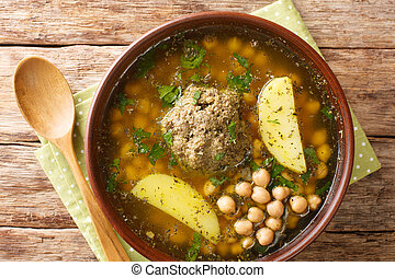 Azerbaijani soup from lamb meatballs chickpea and potatoes ...
