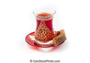 Azerbaijani tea - Traditional Armudu (tea cup) with Pakhlava