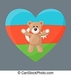 Azerbaijani Teddy Bears - Teddy Bears with heart with flag ...