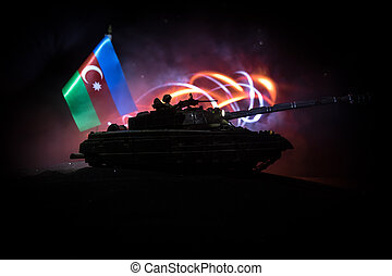 Azeri army concept. Silhouette of armed soldiers against ...