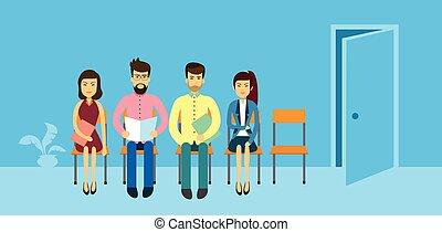 aziaat handel, mensen, groep, zittende , in lijn, rij, deur, azie, businesspeople