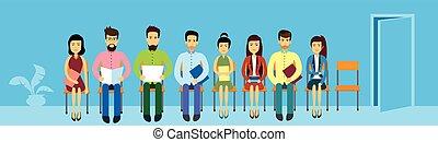 aziaat handel, mensen, groep, zittende , in lijn, rij, deur, azie, businesspeople, spandoek