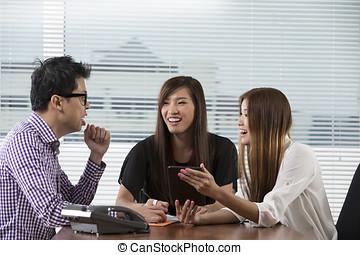 aziaat handel, team, hebben, een, vergadering