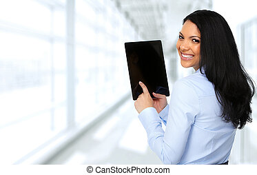 aziaat handel, vrouw, met, tablet, computer.