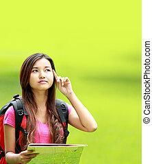 aziaat, student, denken, iets, in het park