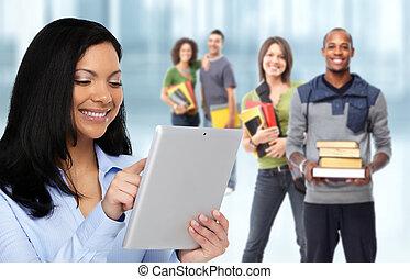 aziaat, student, vrouw, met, tablet, computer.
