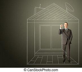 aziaat, zakenman, met, teken, in, fictief, woning