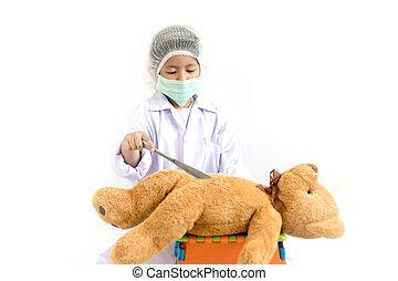 aziatisch kind, spelend, arts, met, teddy beer, operatiekamer