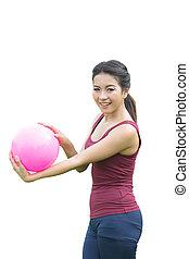 aziatisch meisje, en, rose bal