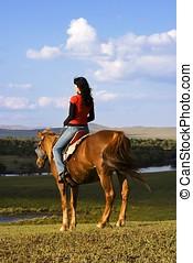 aziatisch meisje, paardrijden