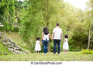 aziatische familie, houden hands, wandelende, op, buiten, park, back, overzicht.