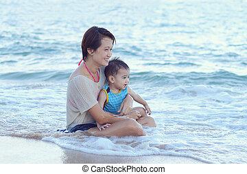 aziatische familie, plezier