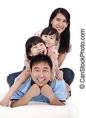 aziatische familie, vrolijke