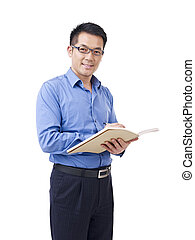 aziatische man, met, pen en, aantekenboekje