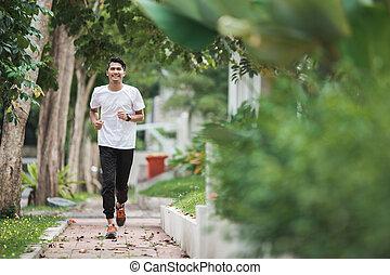 aziatische man, rennende , en, het uitoefenen, buiten