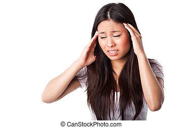 aziatische vrouw, hebben, hoofdpijn